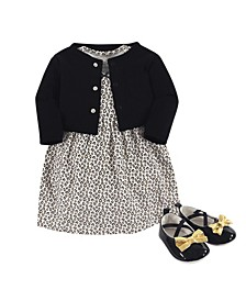 Baby Girls Leopard Cardigan, Dress and Shoe Set, Pack of 3