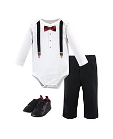 Baby Boys Lumberjack Bow Tie Bodysuit, Pant and Shoe Set, Pack of 3