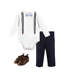 Baby Boys Suspenders Bodysuit, Pant and Shoe Set, Pack of 3
