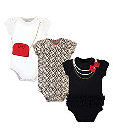 Baby Girls Bow Bodysuits, Pack of 3