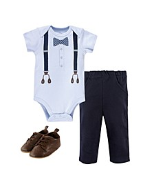 Baby Girls and Boys Dot Bow Tie Bodysuit, Pant and Shoe Set, Pack of 3