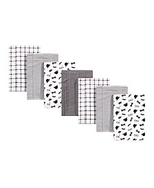 Baby Girls and Boys Gentleman Flannel Burp Cloths, Pack of 7