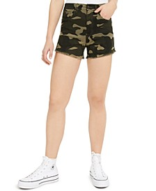 Camo Curvy Frayed-Hem Shorts