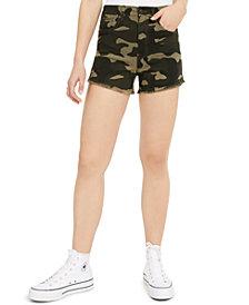 Celebrity Pink Camo Curvy Frayed-Hem Shorts