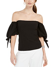 Off-The-Shoulder Tie-Sleeve Top