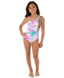 Big Girls 1-Pc. Shoulder Ruffle Swimsuit