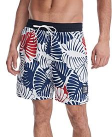 """Men's Leaf Print 6 1/2"""" Swim Trunks, Created for Macy's"""