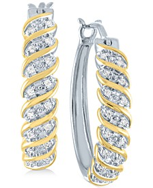 """Diamond Small Hoop Earrings (1/10 ct. t.w.) in Sterling Silver and 14k Gold-Plated, 0.75"""""""