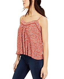 Juniors' Printed Crochet-Trimmed Swing Tank