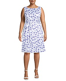Plus Size Floral-Print Belted Dress