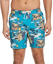 "Men's Tiki Tropical-Print 6"" Swim Trunks"