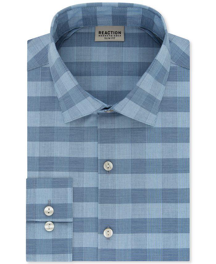 Kenneth Cole Reaction - Men's Slim-Fit All-Day Flex Horizon Check Dress Shirt