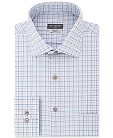 Men's Classic/Regular-Fit Non-Iron Performance Stretch Flex Collar Blue Stone Check Dress Shirt