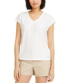 Eyelet-Embroidered Top