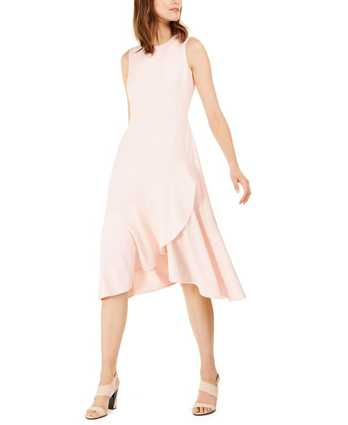 Calvin Klein - Ruffled High-Low Midi Dress