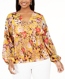 INC Plus Size Floral-Print Smocked Top, Created for Macy's