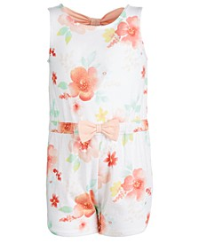 Baby Girls Cotton Floral-Print Bow-Back Romper, Created for Macy's