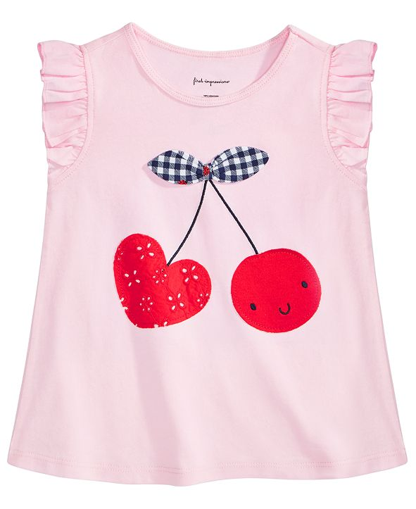 First Impressions Baby Girls Cotton Cherry Heart T-Shirt, Created for Macy's