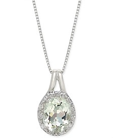 "Mint Quartz (2-1/3 ct. t.w.) & White Topaz (1/10 ct. t.w.) 18"" Pendant Necklace in Sterling Silver"