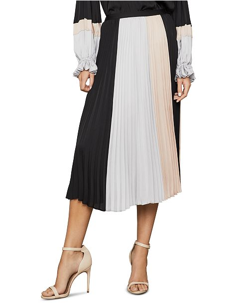 BCBGMAXAZRIA Colorblocked Pleated Midi Skirt