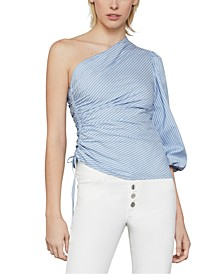 Pinstriped Poplin One-Shoulder Top