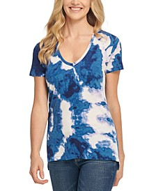V-Neck Tie-Dyed T-Shirt