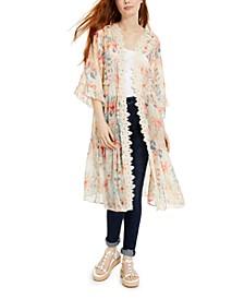 Juniors' Printed Lace-Trimmed Kimono