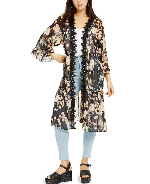 Self Esteem Juniors' Printed Lace-Trimmed Kimono