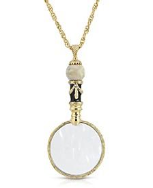 """Gold Tone River stone Semi Precious Magnifier 30"""" Pendant"""
