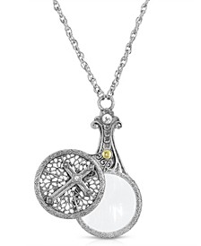 "Pewter Crystal Cross Sliding Magnifier 30"" Pendant"