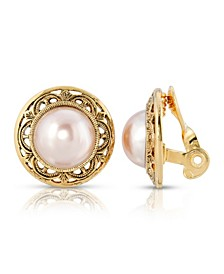 Gold Tone Imitation Pearl Round Button Clip Earrings