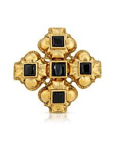 Semi-Precious Onyx Brooch Pin