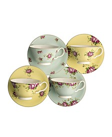 Archive Rose Teacups and Saucers, Set of 4
