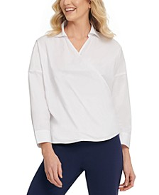 Cotton Collared Wrap Top