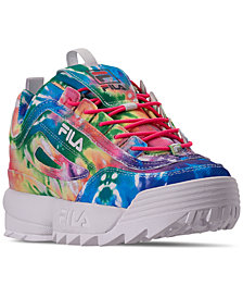 Fila Little Girls' Disruptor II Tie Dye Casual Sneakers from Finish Line