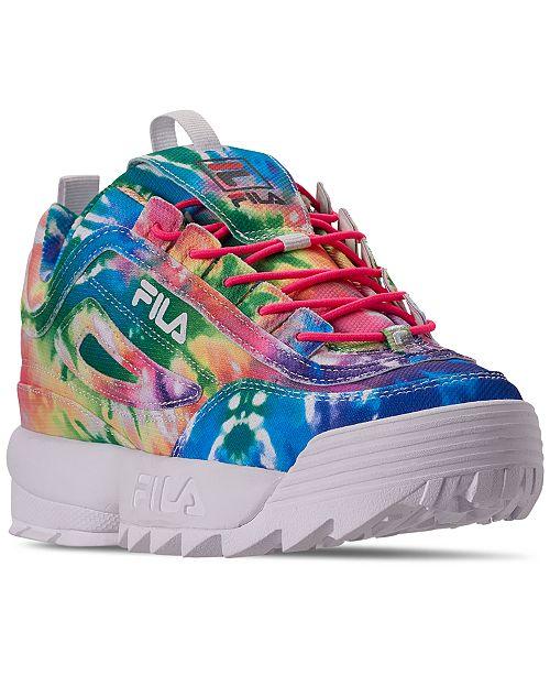 Fila Little Girls' Disruptor II Tie Dye Casual Sneakers from Finish Line