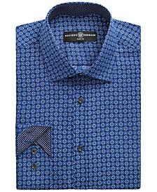 Men's Slim-Fit Non-Iron Stretch Flower Medallion Dress Shirt