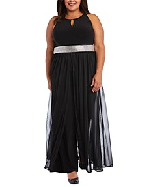Plus Size Wide-Leg Walkthrough Jumpsuit