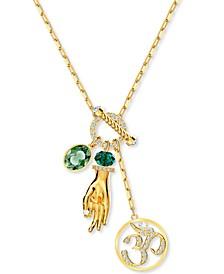 "Gold-Tone Crystal, Stone & Imitation Pearl Symbolic Charm 25-1/2"" Pendant Necklace"