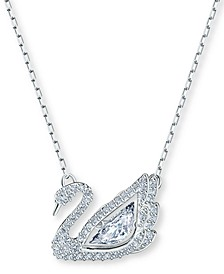 """Silver-Tone Dancing Swan Crystal Pendant Necklace, 15"""" + 2"""" extender"""