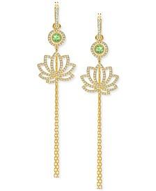 Gold-Tone Crystal Lotus Charm Huggie Hoop Earrings
