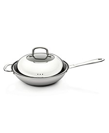 "Collect'N'Cook 11"" Stainless Steel Nonstick Covered Wok"