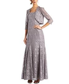 Scalloped Glitter-Lace Dress & Shrug