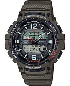 Men's Digital Fishing Gear Green Resin Strap Watch 48mm