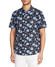 Men's Slim Fit 4-Way Stretch Gingham Floral Short Sleeve Shirt