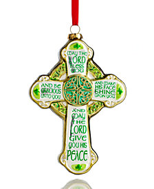 Holiday Lane Glass Green Irish Cross Ornament, Created for Macy's