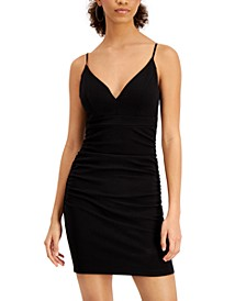 Juniors' V-Neck Ruched Bodycon Dress