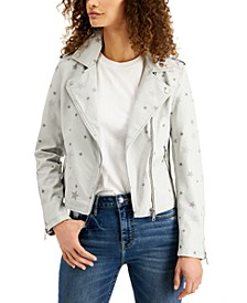 Viggos Jeans Star-Print Moto Jacket
