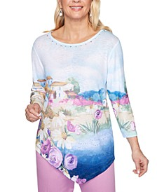 Petite Petal Pushers Watercolor-Print Top