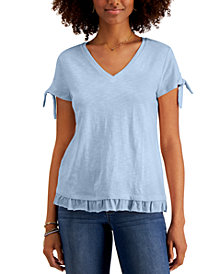 Style & Co Tie-Sleeve Ruffled Top, Created for Macy's